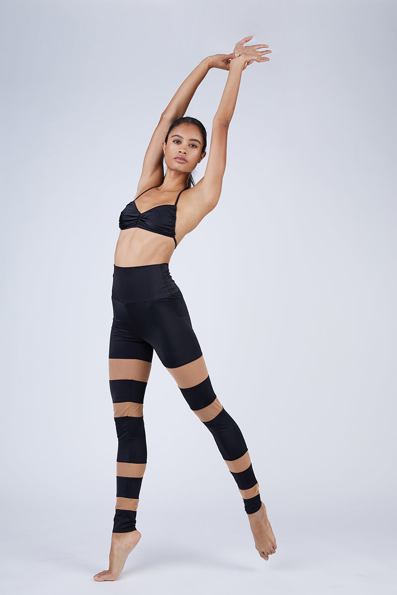 Sheer Block Leggings - Black