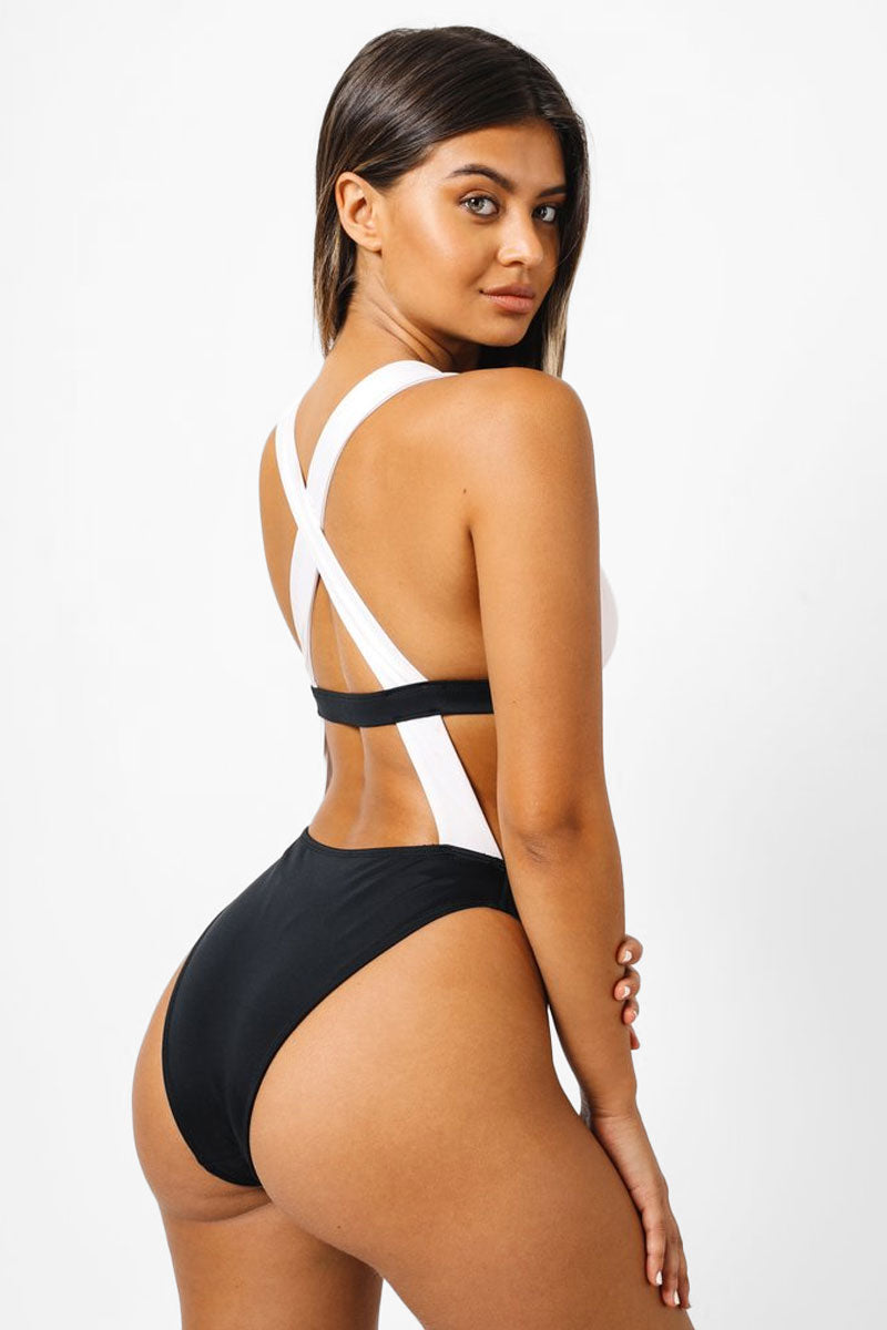 Sofia Color Block Monokini Criss Cross Back One Piece Swimsuit - Black & White
