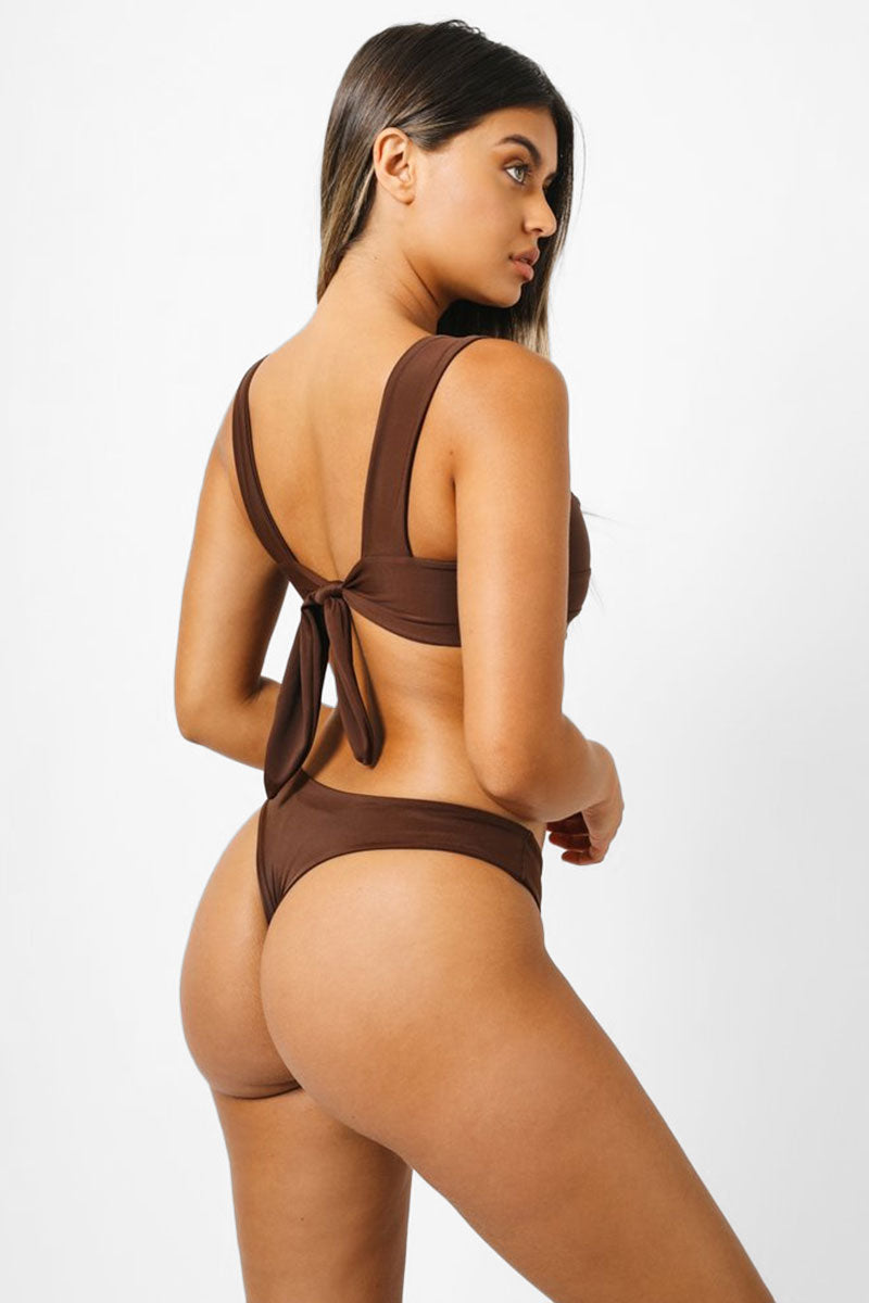 Salty Low Rise Bikini Bottom - Chocolate Brown