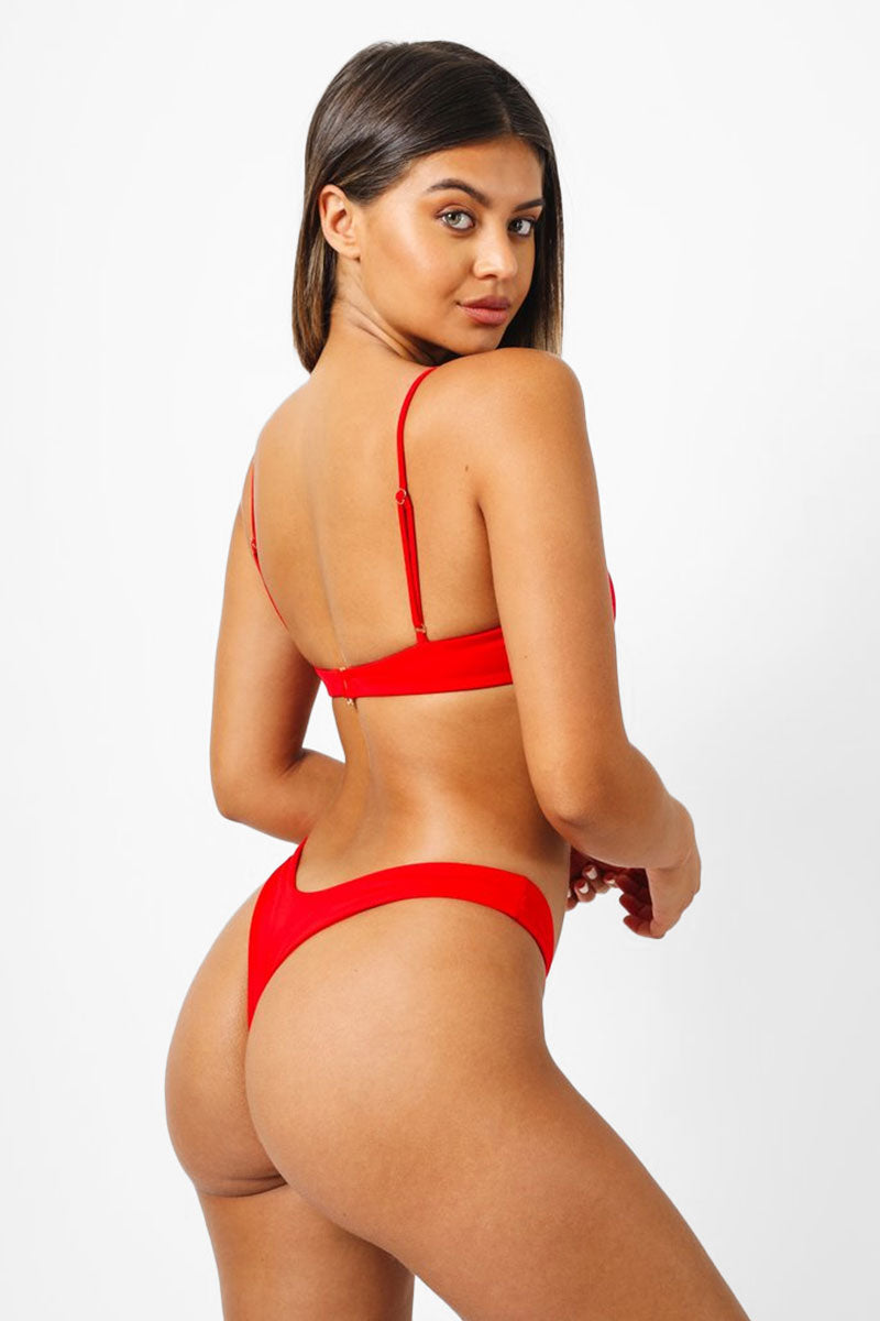 Bella Thong Bikini Bottom - Red