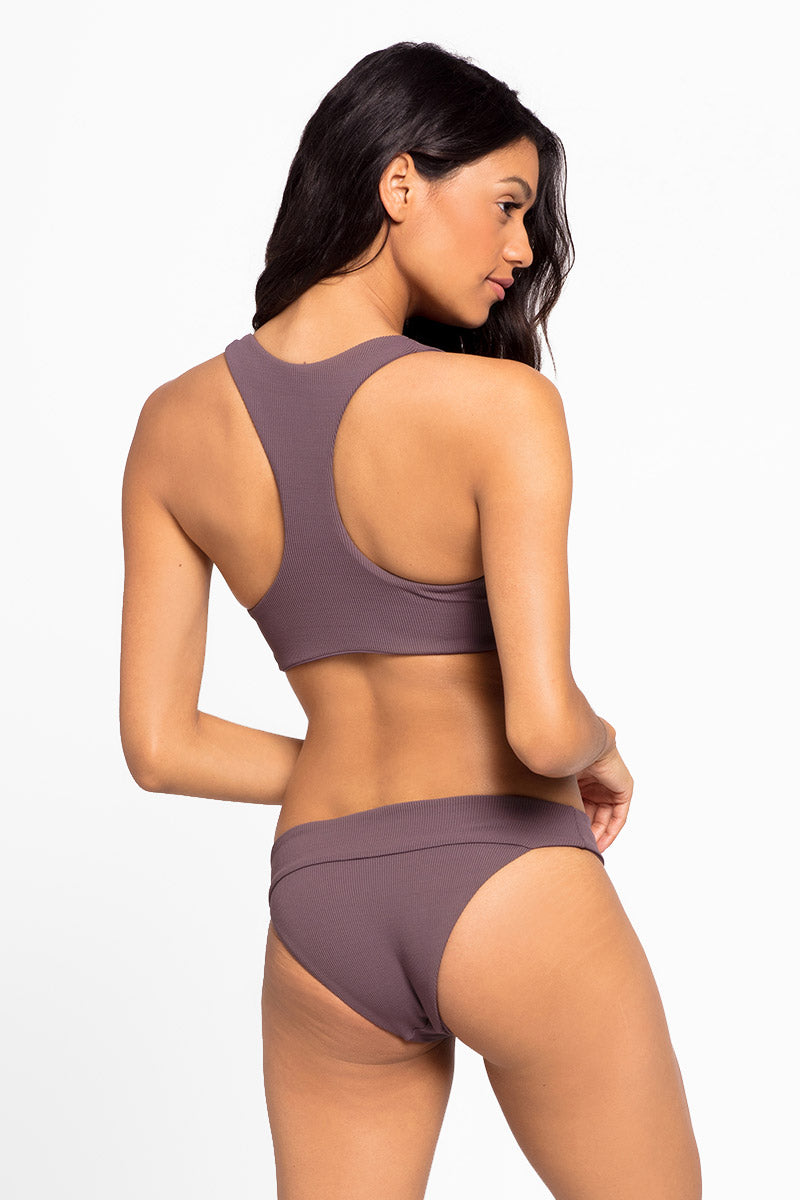 Veronica Fold Over Hipster Bikini Bottom - Pebble Brown