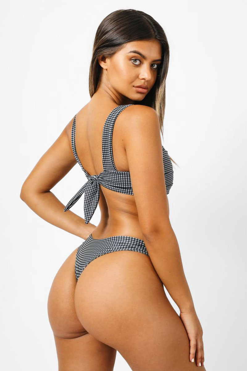 Salty Low Rise Bikini Bottom - Black & White Houndstooth Print