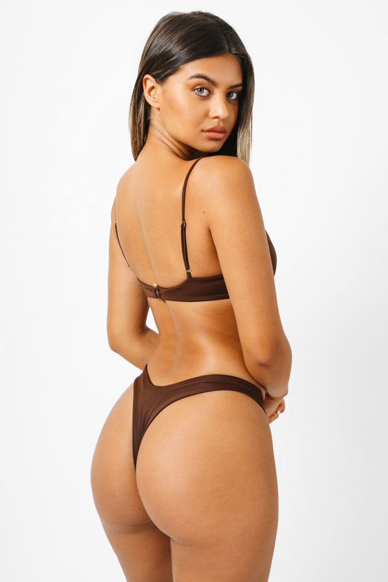 Bella Thong Bikini Bottom - Chocolate Brown