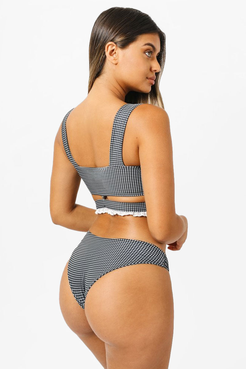 Eve Knotted Cheeky Bikini Bottom - Black & White Houndstooth Print