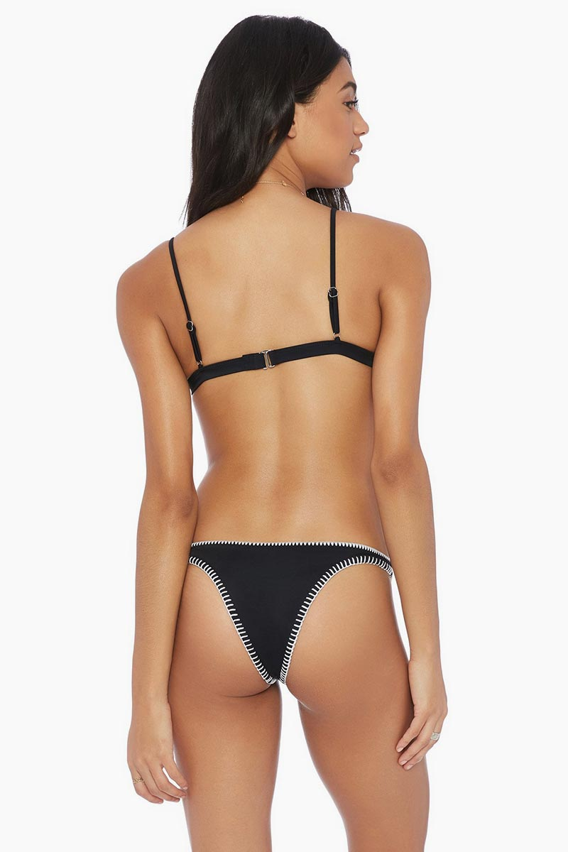 Daniela Stitched Brazilian Bikini Bottom - Black & White
