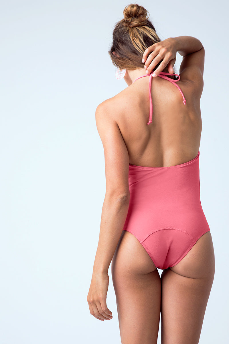 Charlotte Drawstring Halter One Piece Swimsuit - Bubblegum Pink