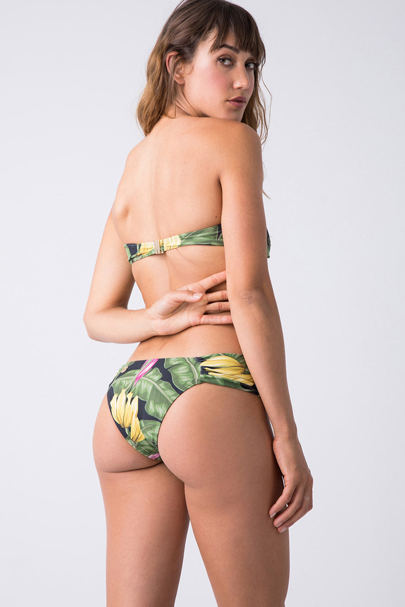 Hipster Ruched Bikini Bottom - Bananeira Tropical Print