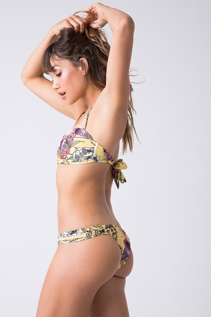 3E5A3942 Hipster Ruched Bikini Bottom 8211 Yellow Floral Print