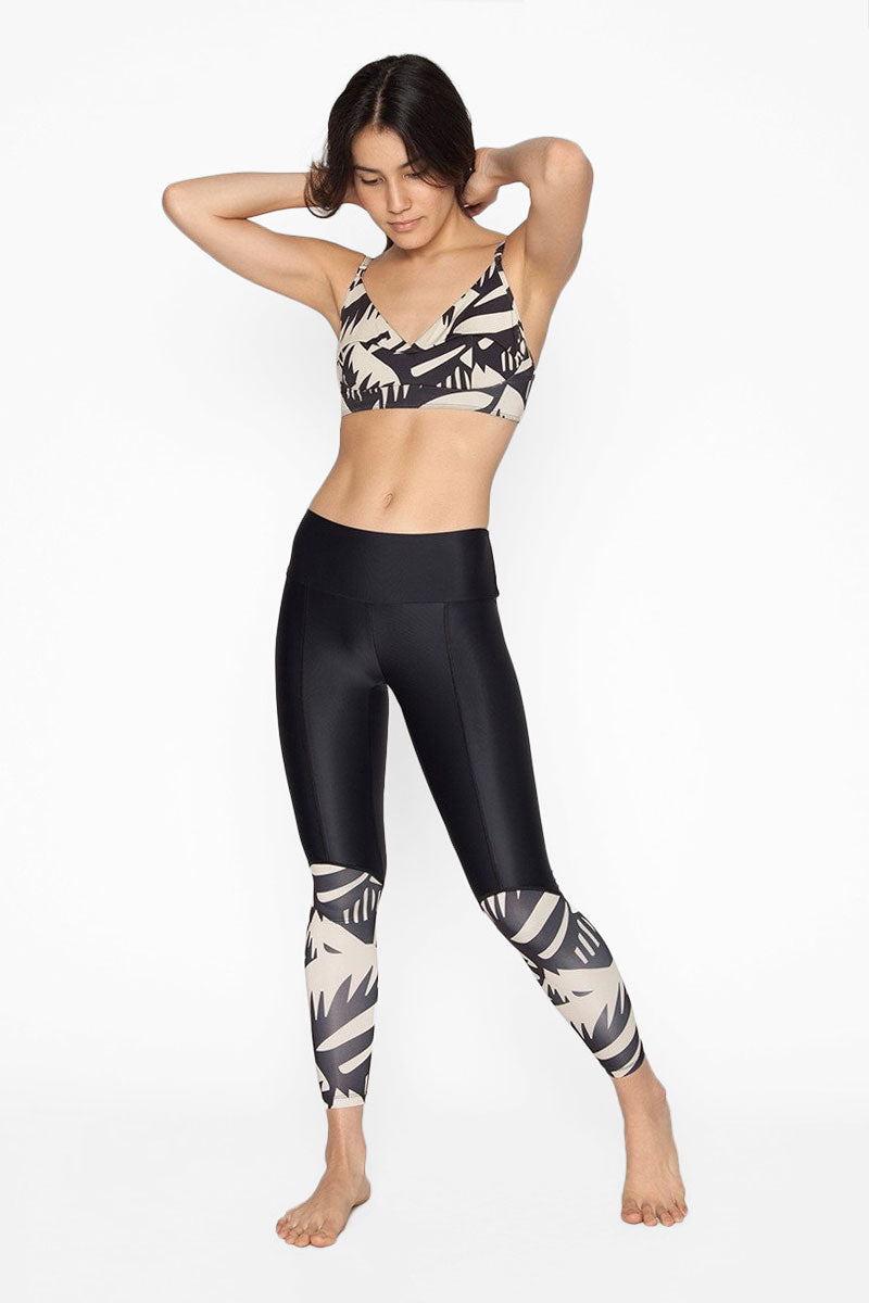Calafia Color Block High Waist Surf Leggings - Buzios Tropical Print