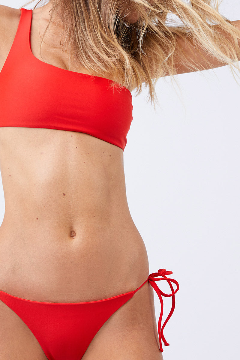 Links Tie Sides Bikini Bottom - Lava Red
