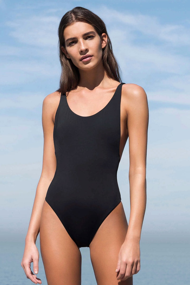 6b730f310a5 ... HAIGHT Thin Strap One Piece Swimsuit - Black - undefined undefined