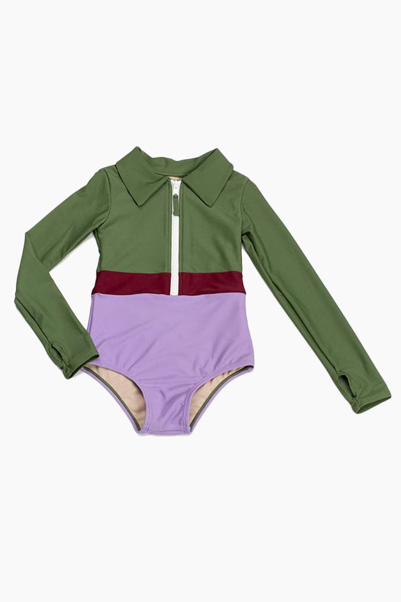 Mini Margherita Color Block Collared Rashguard Bodysuit (Kids) - Vineyard Green/Cordovan Red/Lilac Purple