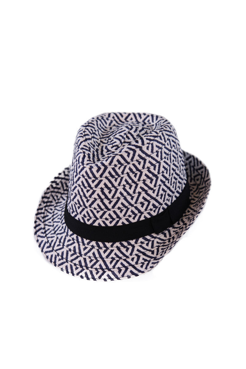 BIKINI.COM Fedora With Ribbon Hat | WHITE/NAVY