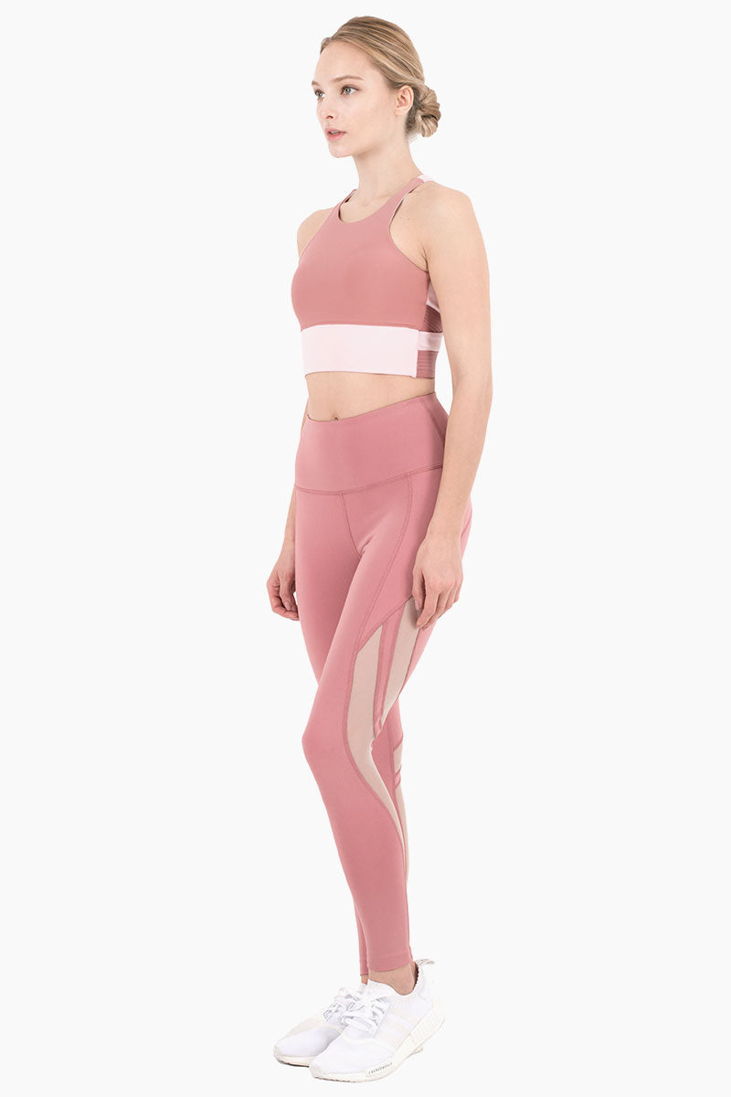 Scarlett High Waisted Mesh Cut Out Leggings - Dusty Pink/Peony