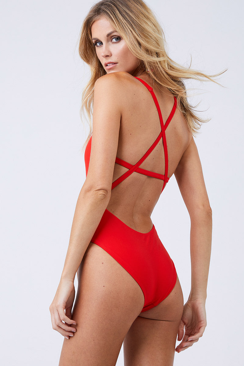 Asterik Scoop Strappy Back One Piece Swimsuit - Lava Red