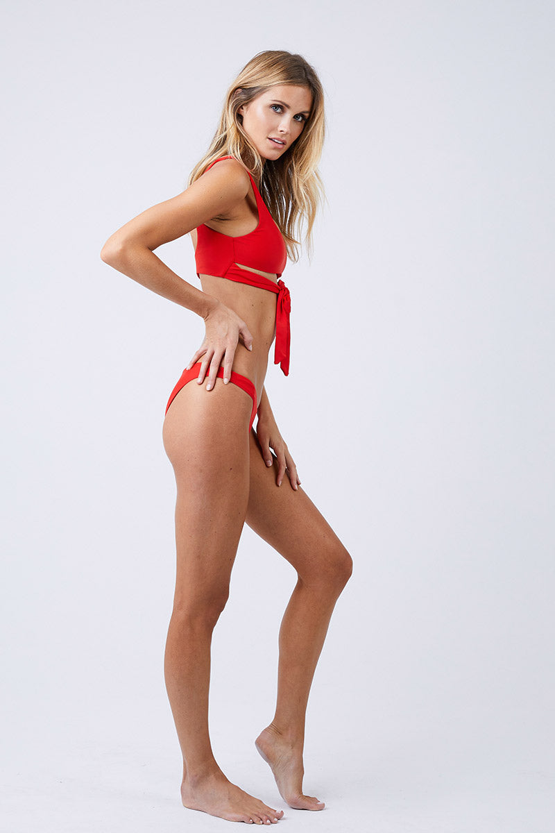 Most Wanted Classic Cheeky Bikini Bottom - Lava Red