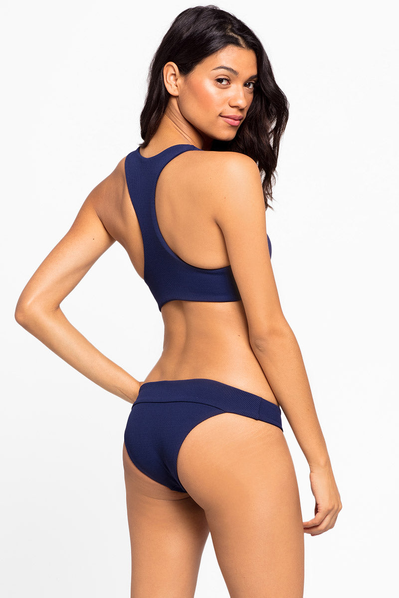 Veronica Fold Over Hipster Bikini Bottom - Midnight Blue