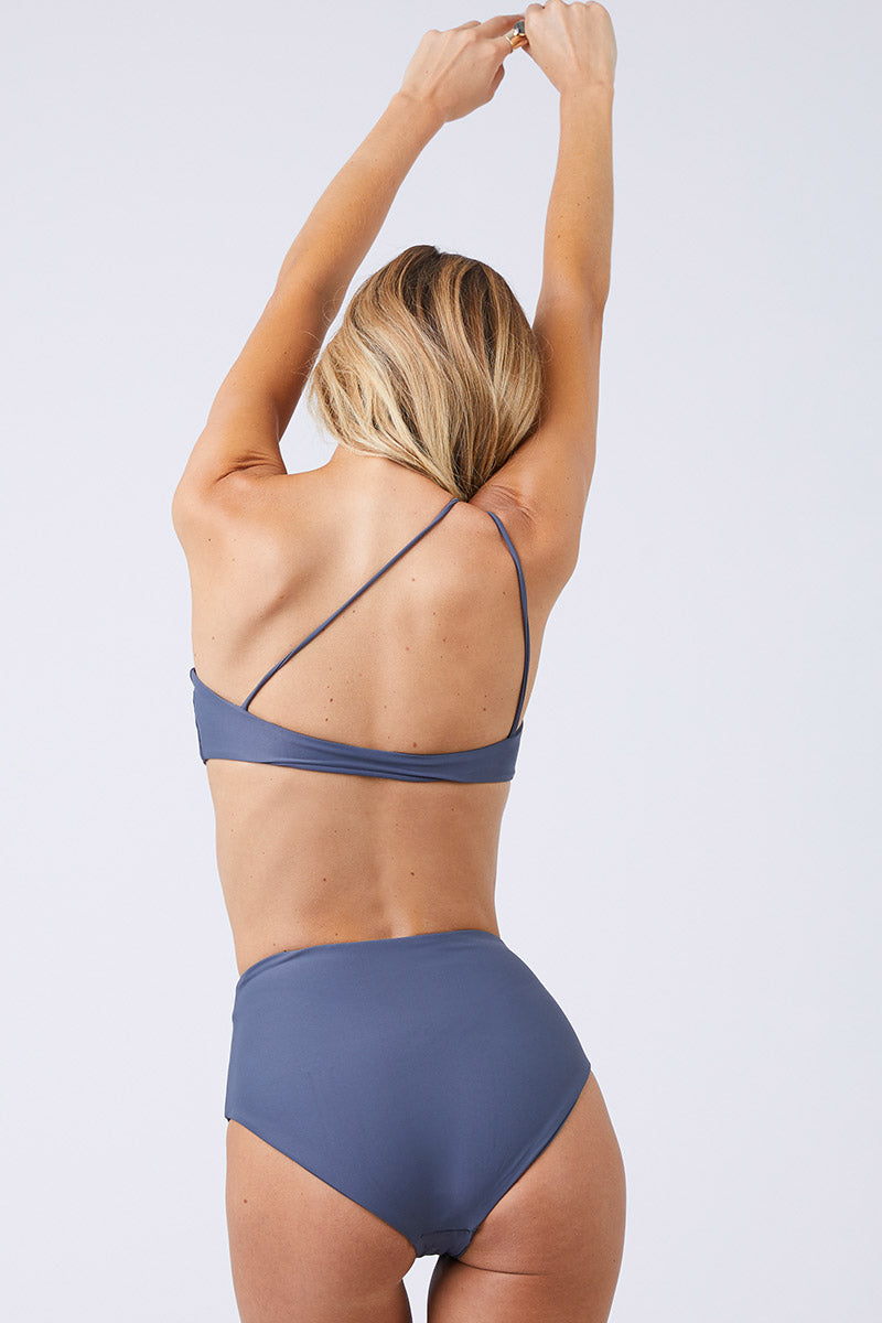 Bound High Waisted Bikini Bottom - Slate Gray