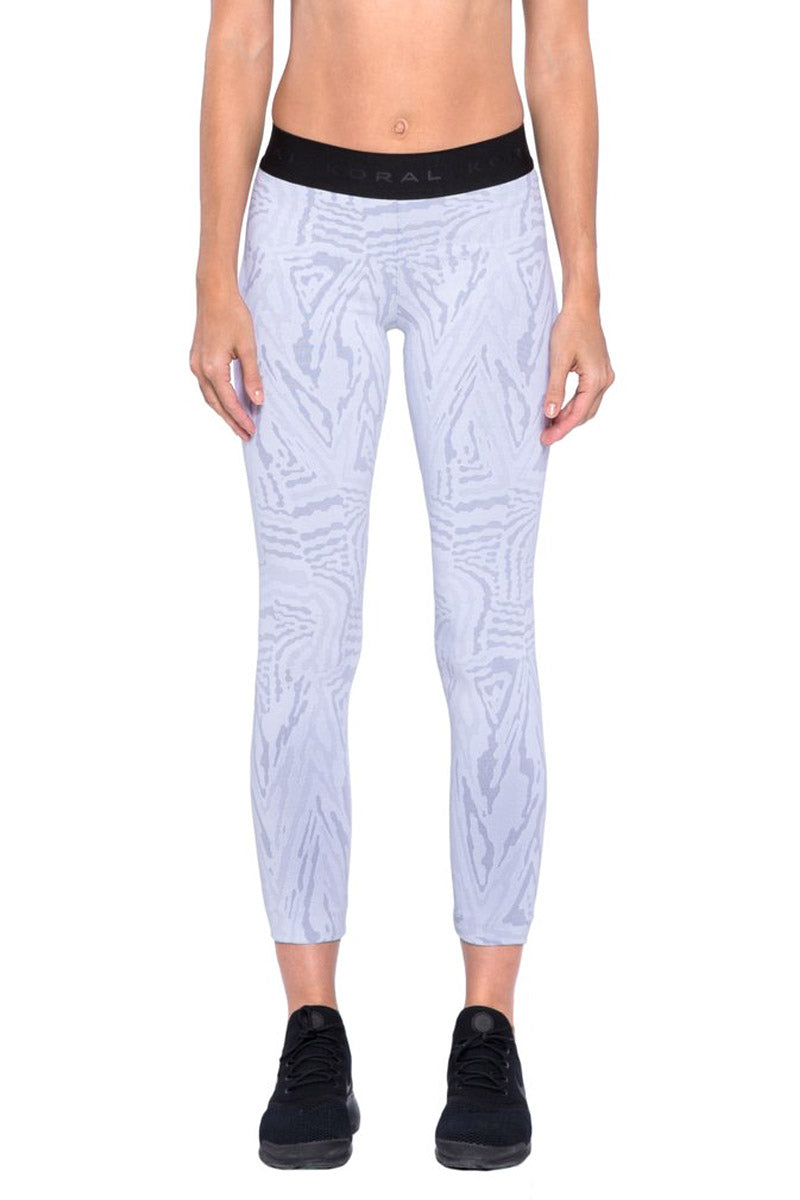 Knockout Jacquard Cropped Leggings - White Galaxy Print