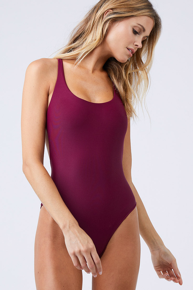 Asterik Scoop Strappy Back One Piece Swimsuit - Fig Purple
