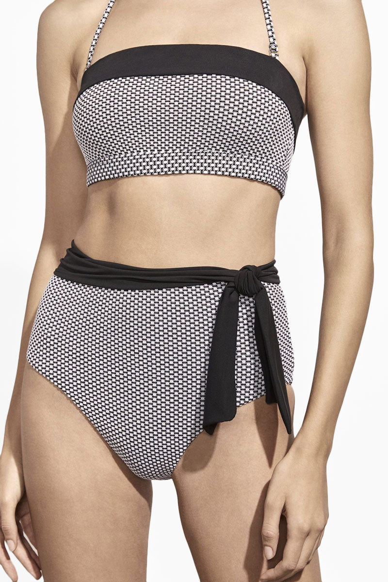 Sabine Belted High Waist Bikini Bottom - Birdseye Black & White Jacquard Print