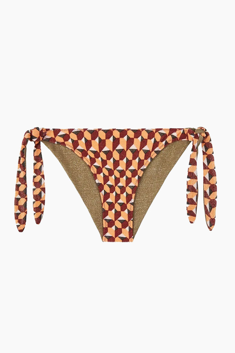 Nathalie Reversible Abbey Tie Side Bikini Bottom - Coral Geometric Print/Taupe Brown