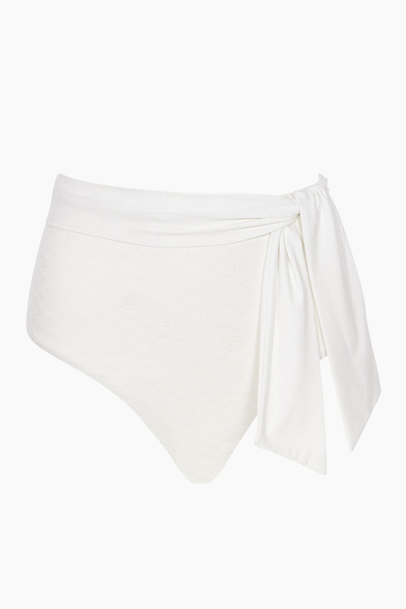 Sabine Belted High Waist Textured Bikini Bottom - Ivory