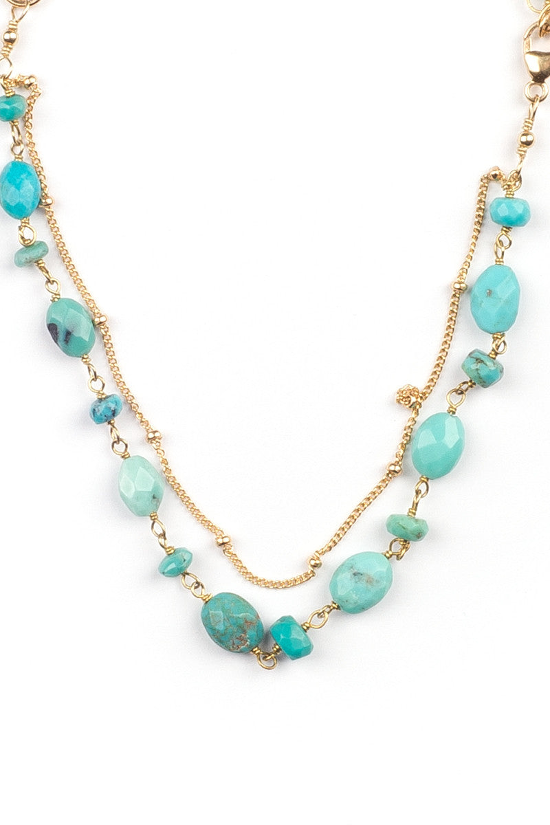 MAILEE Turquoise + Satellite Bracelet Accessories | Gold|