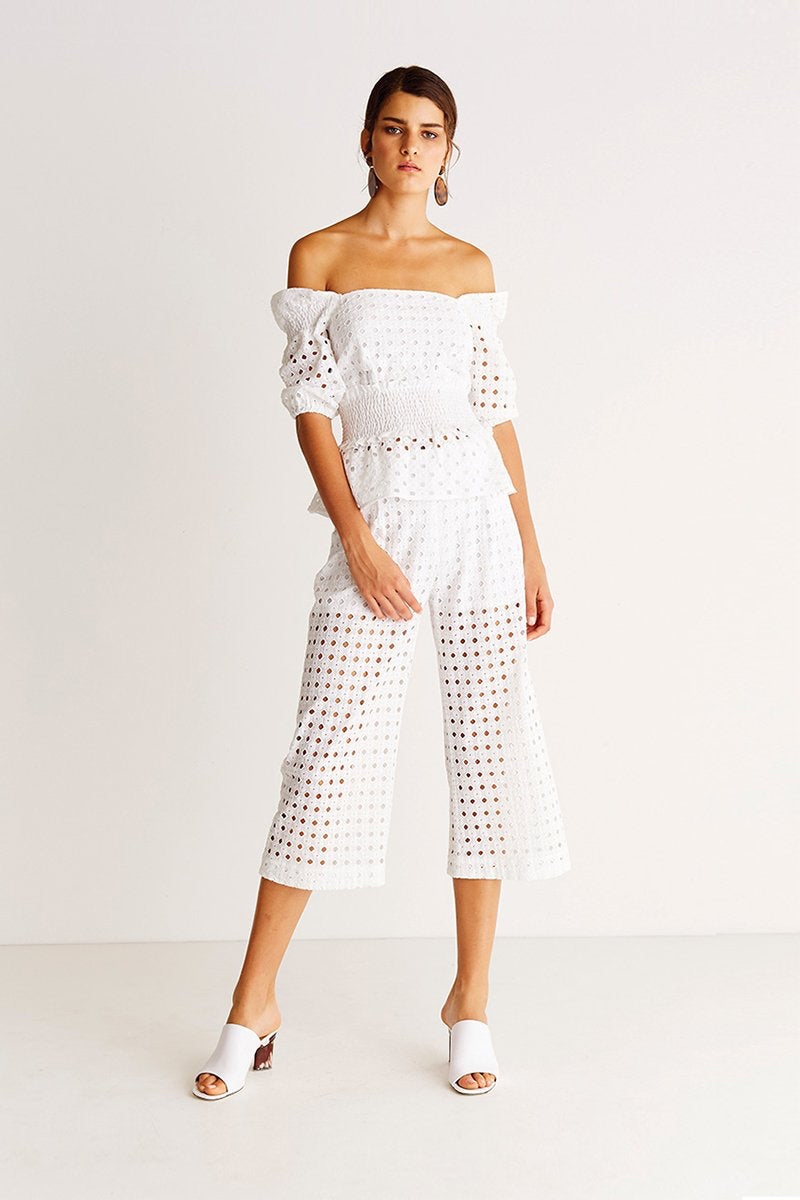 Cropped Wide Leg Pants - Airdrift White