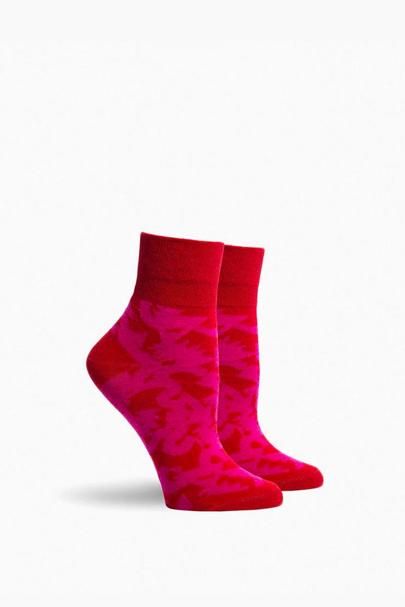 Will Bryant Socks - Red & Hot Pink Abstract Print