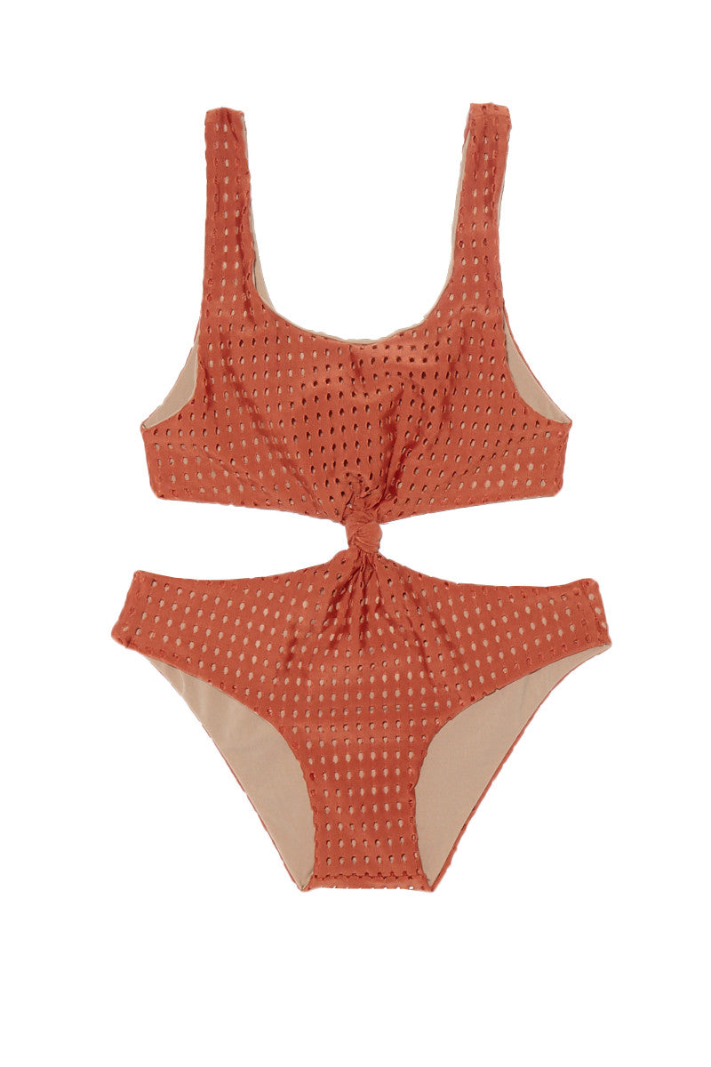Colombia Mesh One Piece Swimsuit (Kids) - Peach Mesh