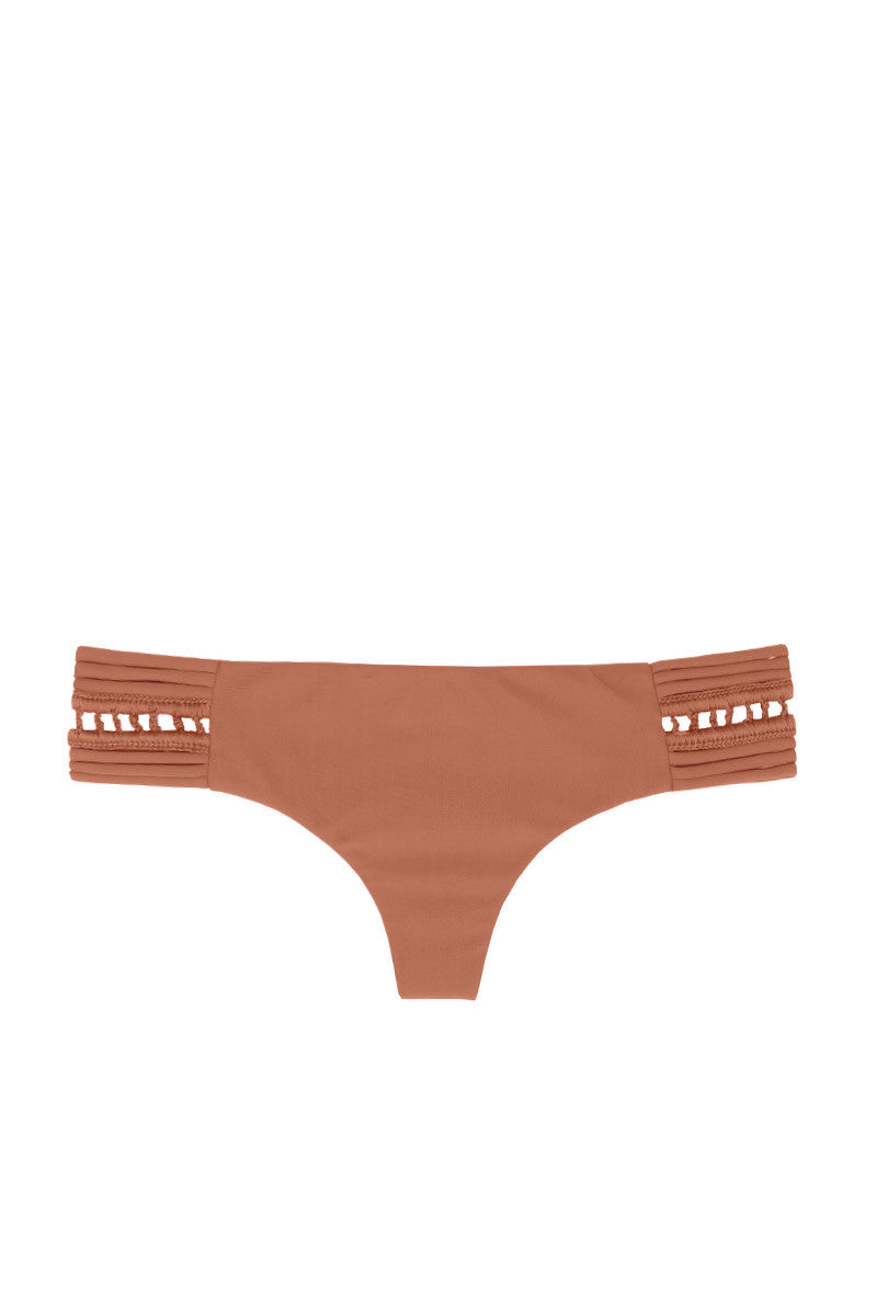 Pikake Strappy Crochet Side Cheeky Bikini Bottom - Topless Tan
