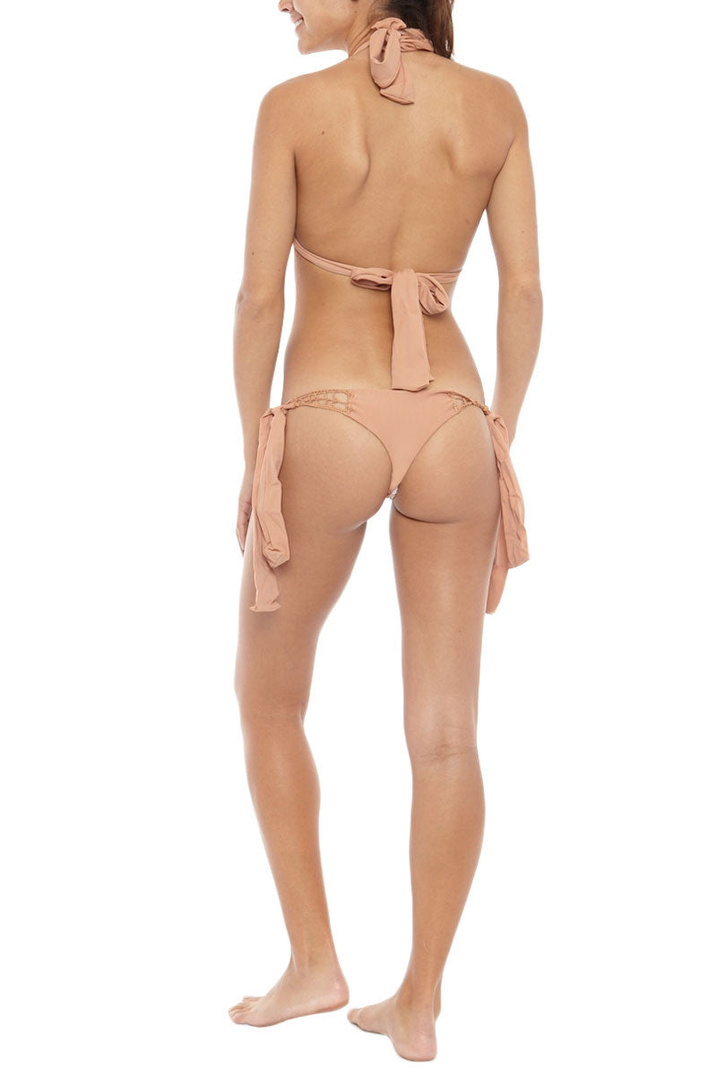Anini Crochet Side Tie Brazilian Bikini Bottom - Topless Tan