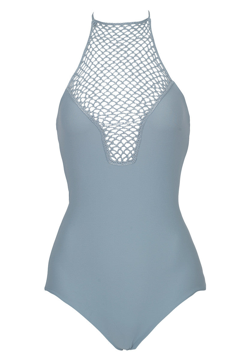 Teahupo'o Crochet High Neck One Piece Swimsuit - Sky Grey