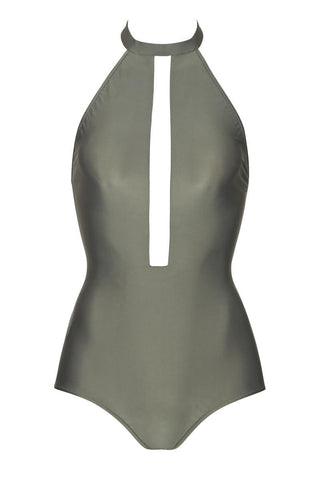 ADRIANA DEGREAS Solid Halterneck One Piece One Piece | Zinc Grey| Adriana Degreas Solid Halterneck One Piece