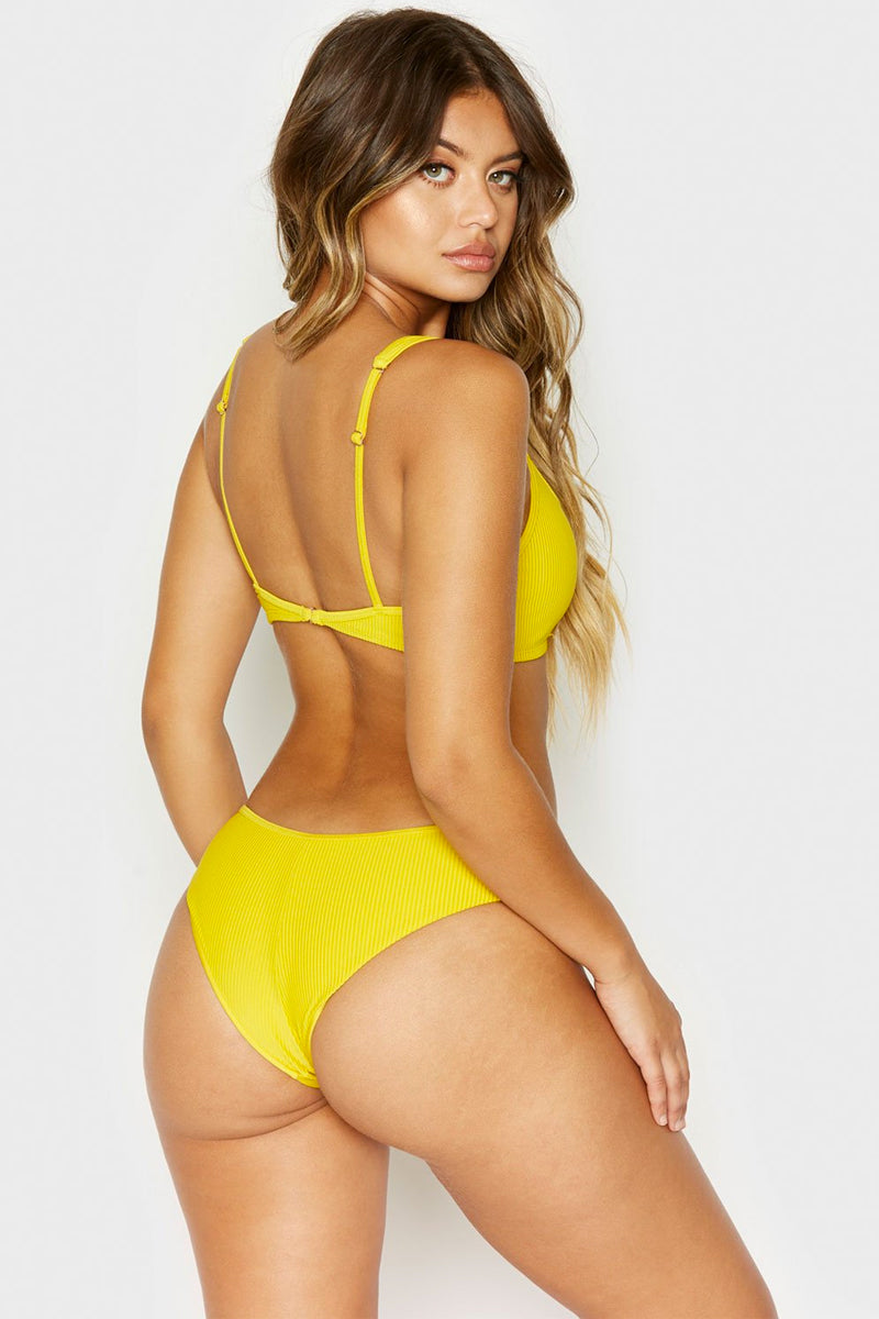 Alana Ribbed Button Up Front Cheeky Bikini Bottom - Amber Yellow