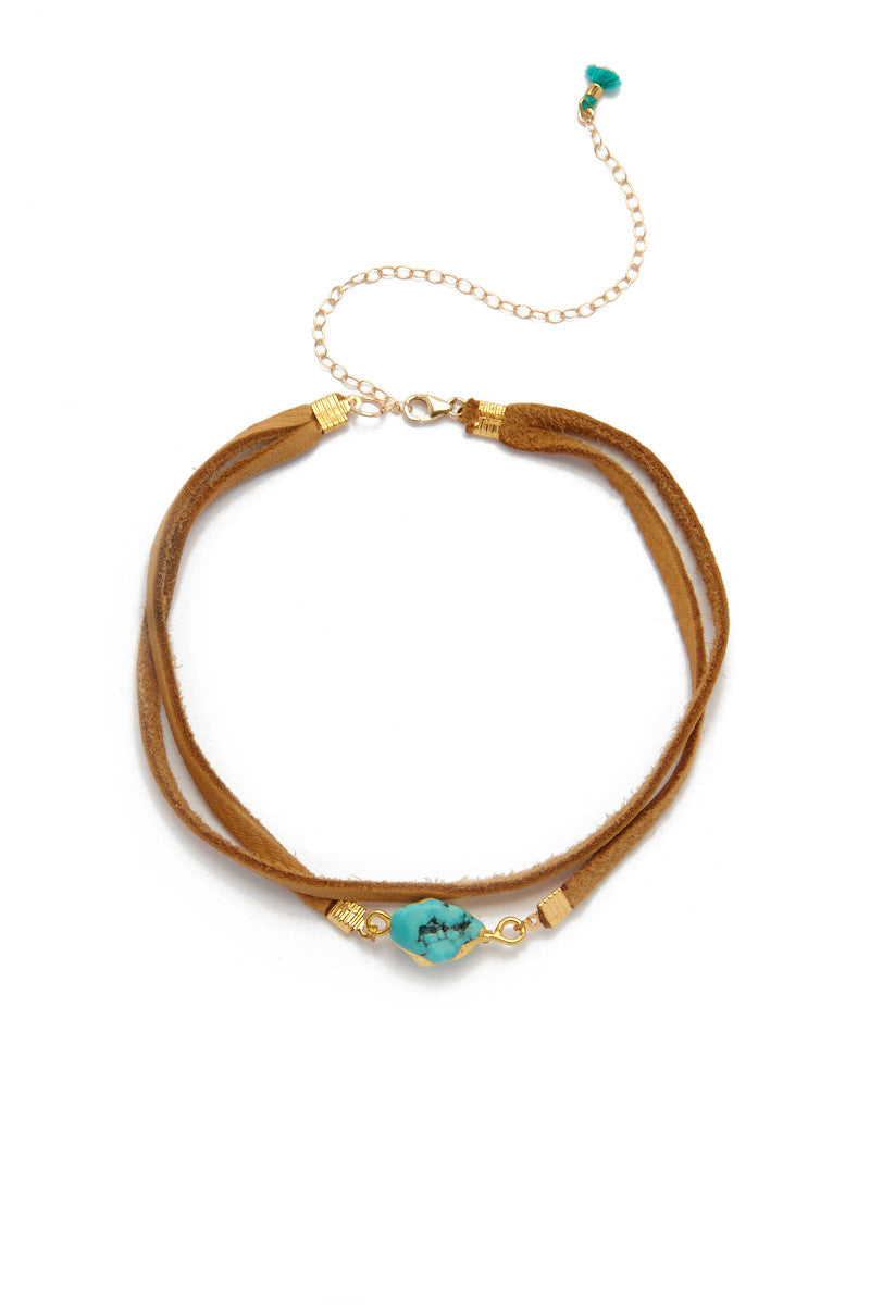 Amelia Suede Layered Choker - Brown/Turquoise