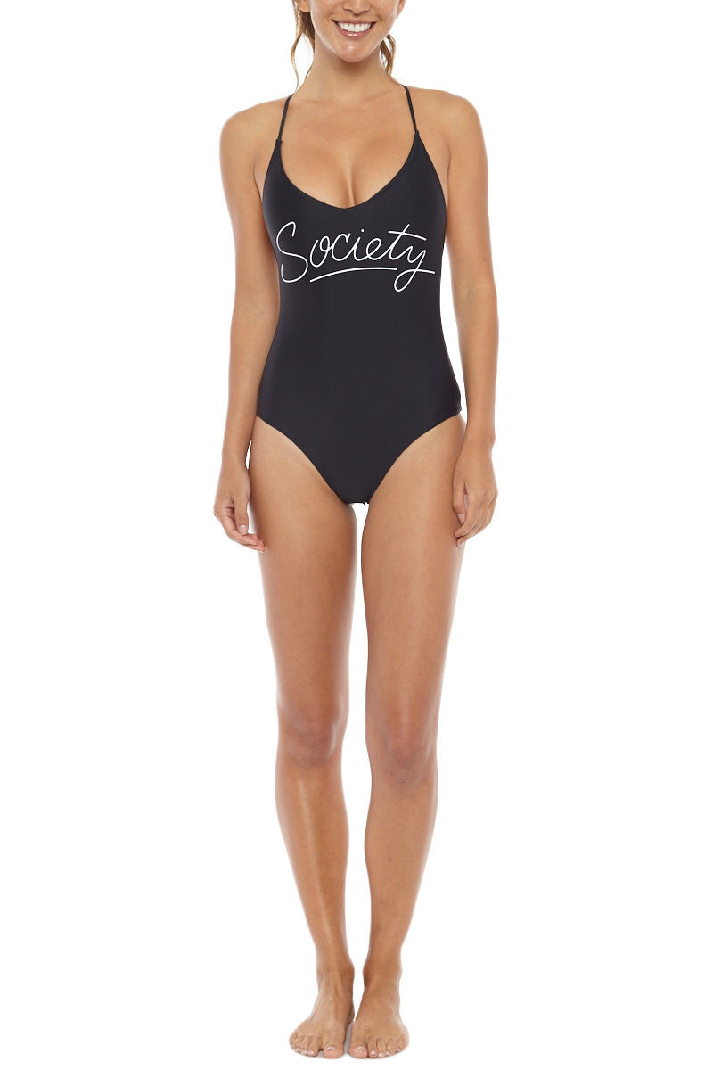 Society Strappy T Back One Piece Swimsuit - Black