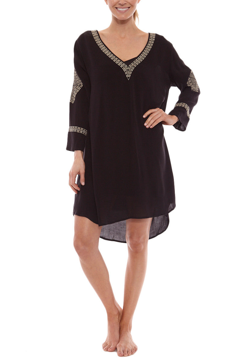 Desert Sky Embroidery Long Sleeve Mini Dress - Black