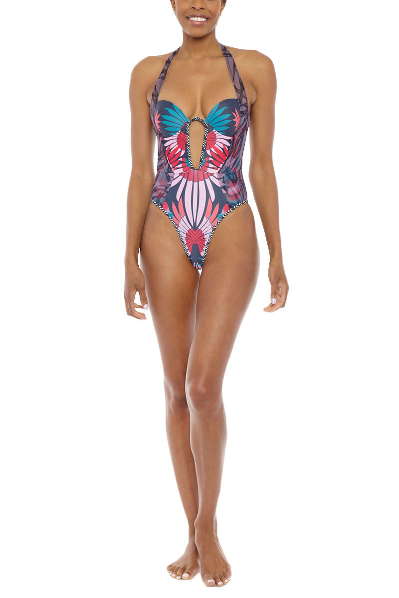 Kenya Halter Underwire Cut Out One Piece Swimsuit - Pink & Blue Tropical Print