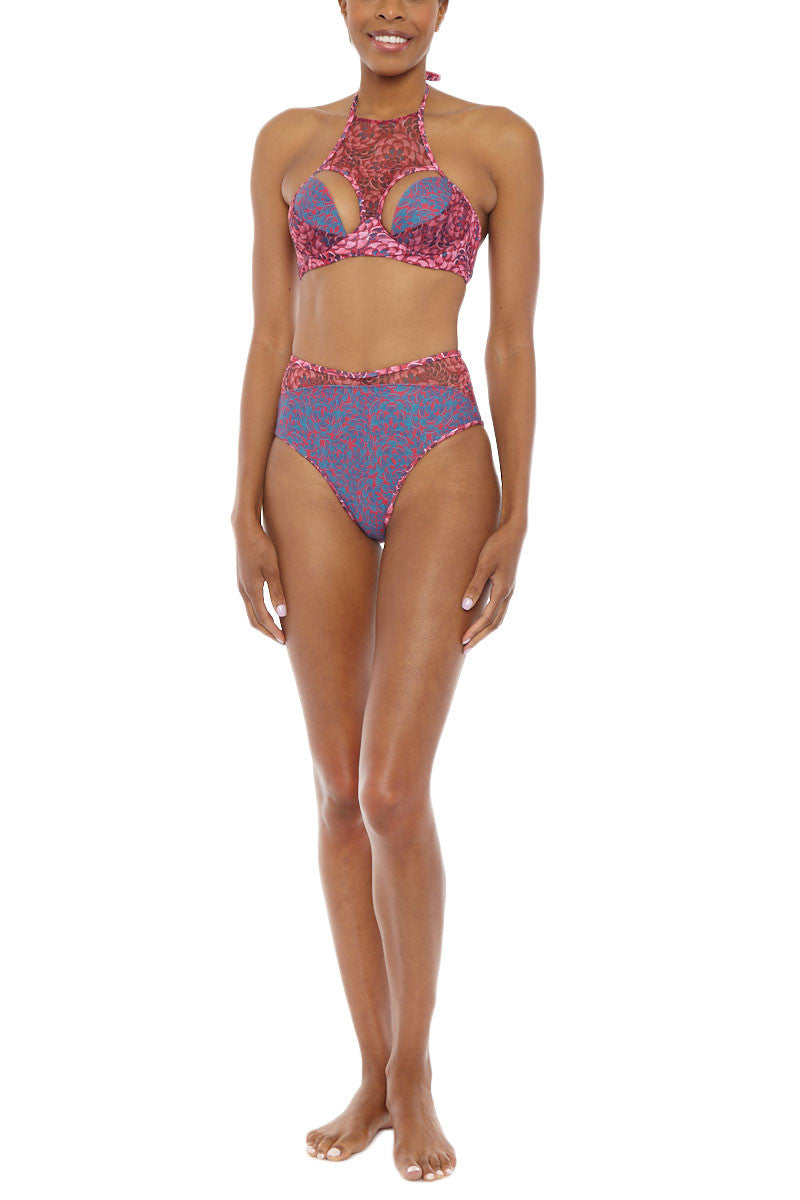 Nissa High Neck Cut Out Underwire Bikini Top - Pink & Purple Abstract Print