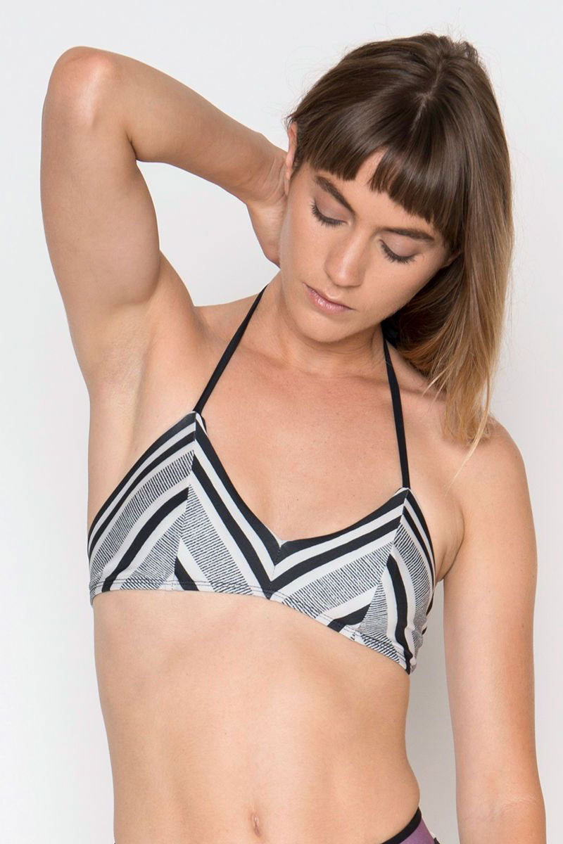 Arcadia V-Neck Halter Triangle Bikini Top - Rayas Black & White Abstract Print