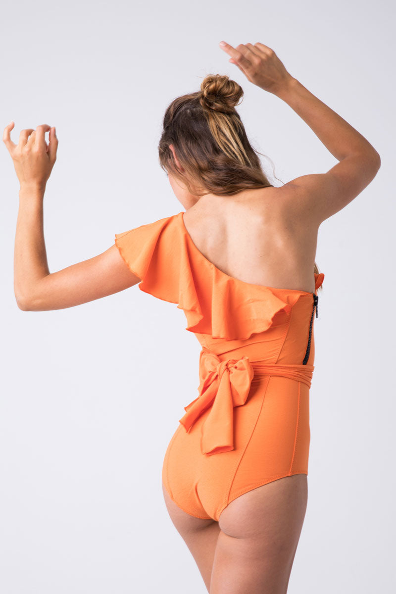 b3a8873b7ca8a LISA MARIE FERNANDEZ Arden Flounce Crepe One Piece Swimsuit - Orange - undefined  undefined