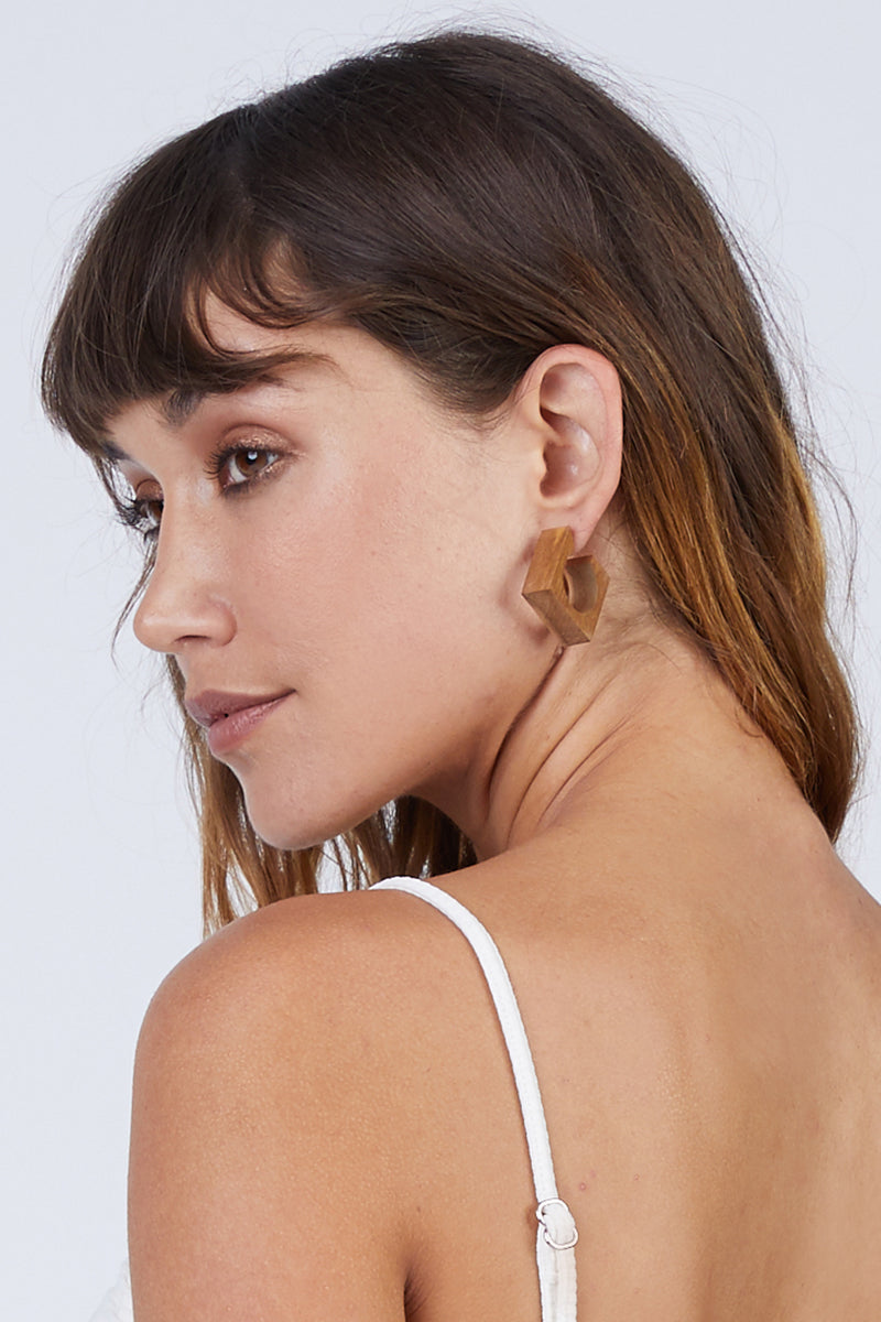 Arlie Squared Hoop Earrings - Wood