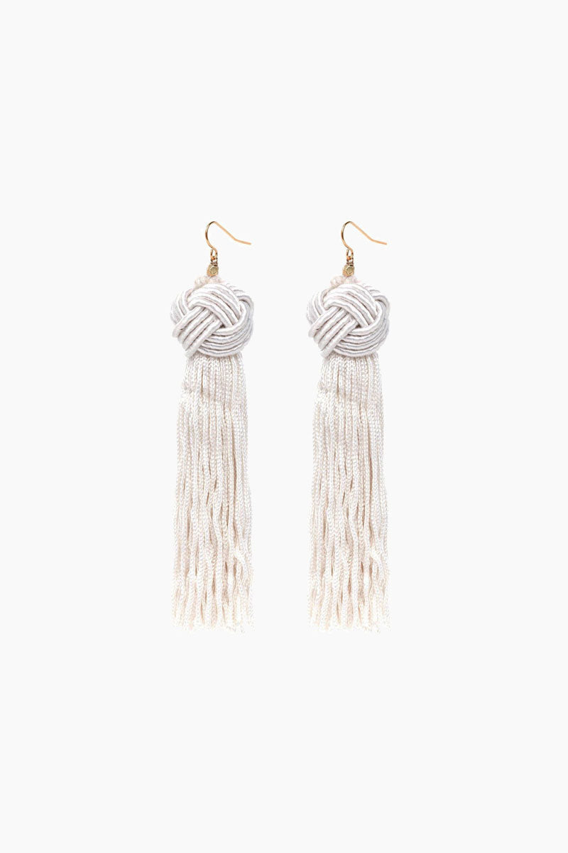 Ivory Astrid Knotted Tassel Earrings