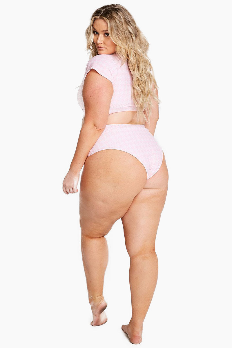Lover High Waisted Bikini Bottom (Curves) - Pink Houndstooth