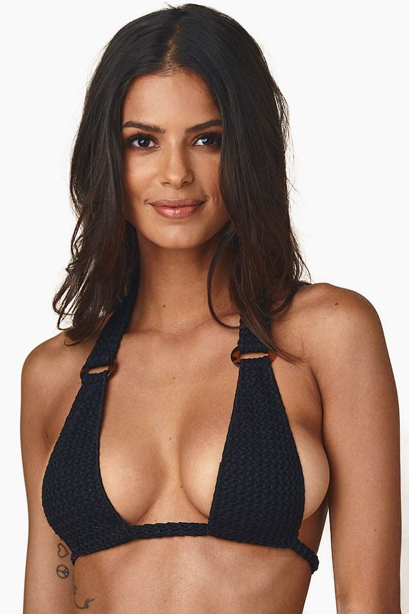 67503d1d4c55 MONTCE SWIM Lani Crochet Triangle Tortoiseshell Ring Bikini Top - Black  Bikini Top | Black| ...