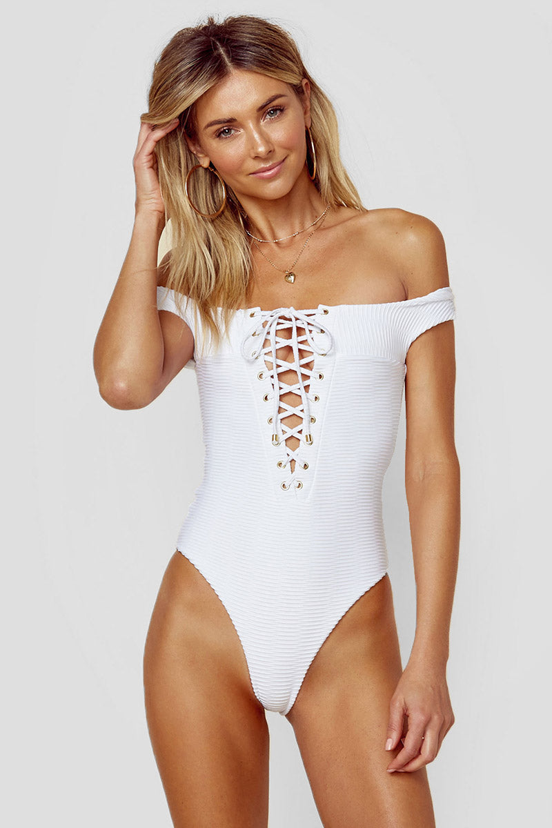 Off Shoulder One Piece Swimsuit - White Jacquard