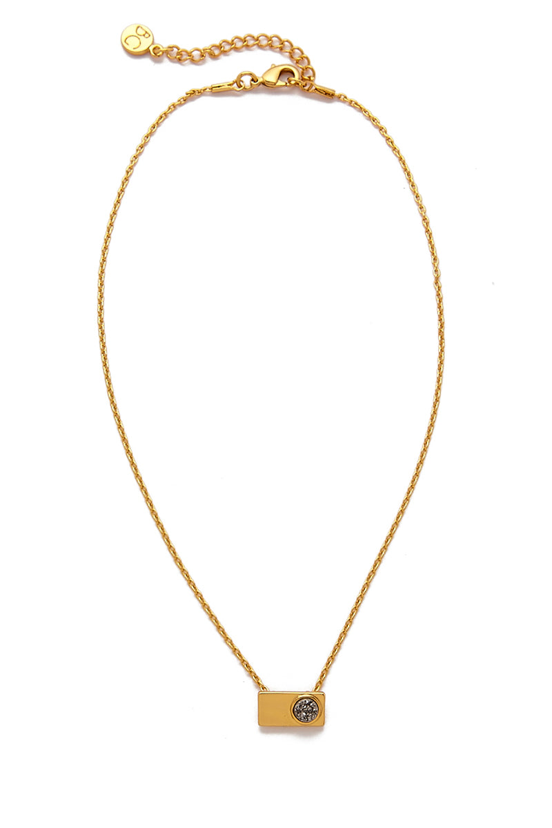 Vinca Rectangular Pendant Necklace - Gold