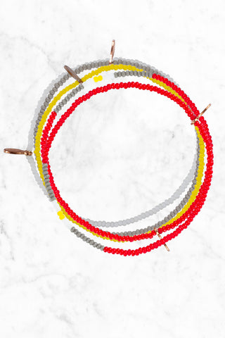 BEAD RELIEF Cure Childhood Cancer Bracelet Accessories | red/white/yellow| bead relief cure childhood cancer